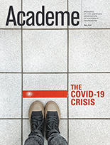 "Cover of fall 2020 Academe titled ""The Covid-19 Crisis"""