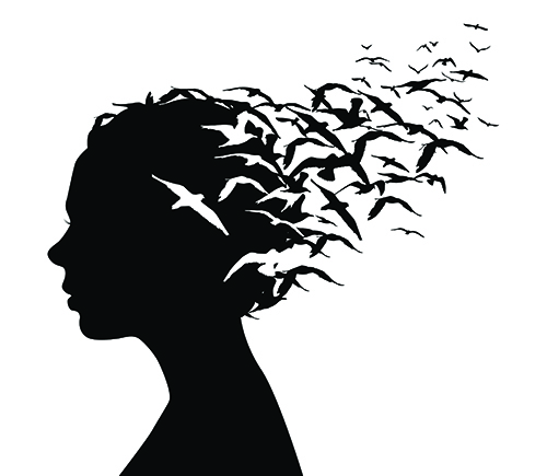 silhouette of woman with seagulls flying from her head