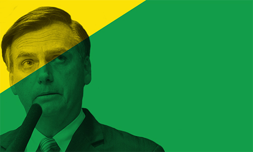 image of Brazilian president Jair Bolsonaro superimposed over part of Brazilian flag
