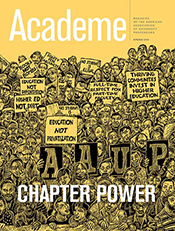 spring 2019 Academe cover with illustration of large group of faculty holding AAUP signs and signs advocating for higher ed issues